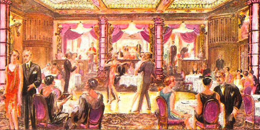 Painting of cabaret banquet hall in Friedrichstrasse, Berlin, with two dancers twirling around on the dance floor.