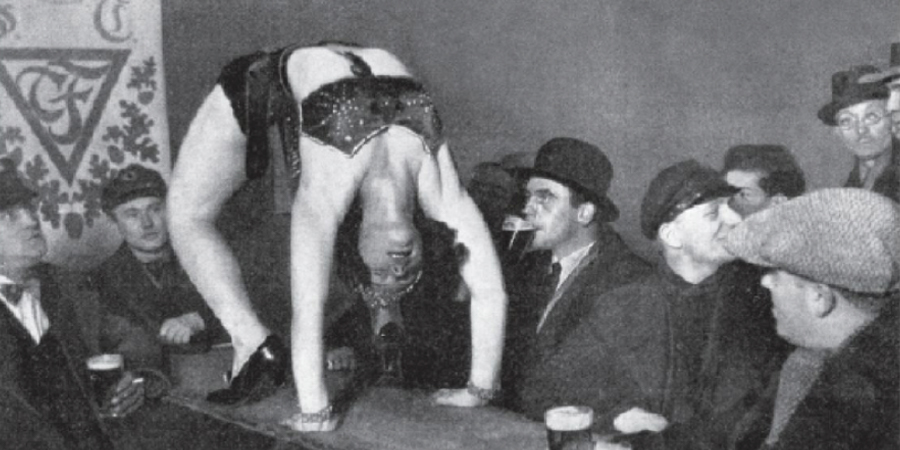 Close-up of an acrobatic performance in Red Mill Cabaret.