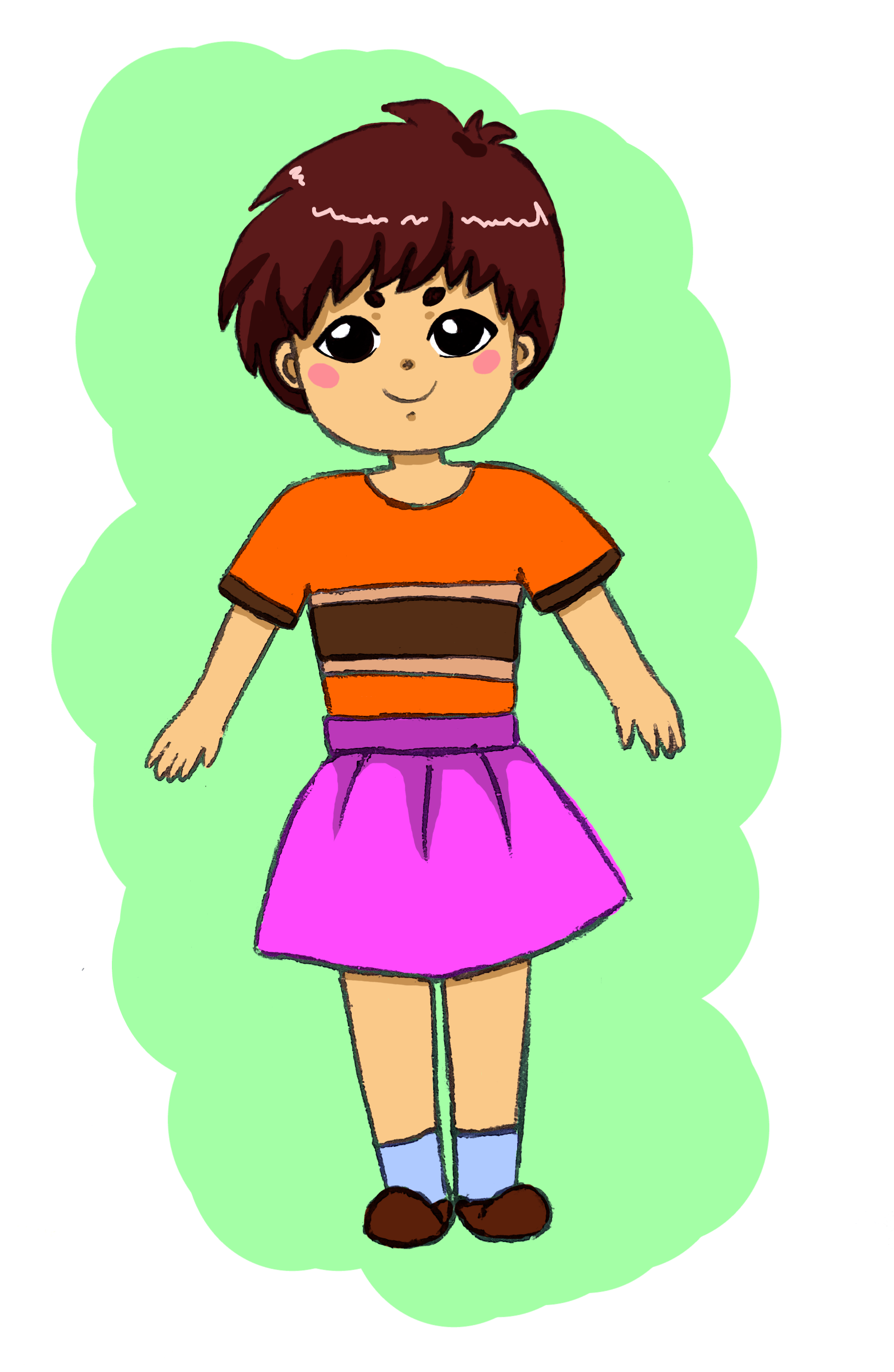 A little doll child with short brown hair, wearing a shirt with stripes and a purple skirt with blue socks.