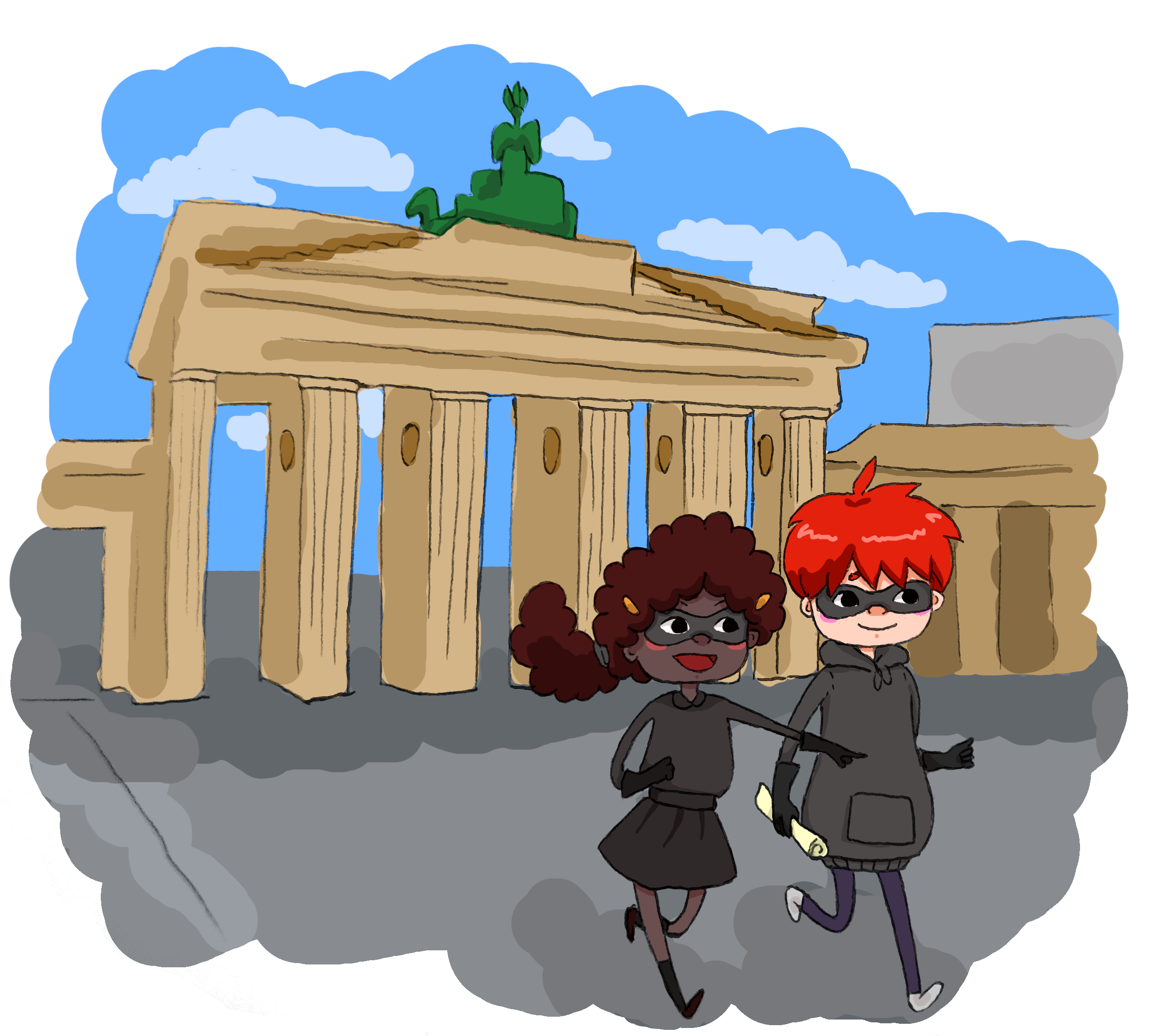 Ben and Kate in full disguise, passing the Brandenburger Tor.